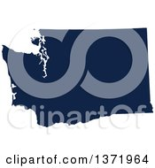 Democratic Political Themed Navy Blue Silhouetted Shape Of The State Of Washington USA