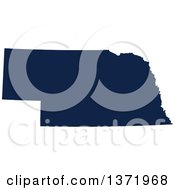 Democratic Political Themed Navy Blue Silhouetted Shape Of The State Of Nebraska USA