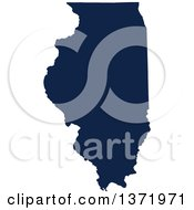 Democratic Political Themed Navy Blue Silhouetted Shape Of The State Of Illinois USA
