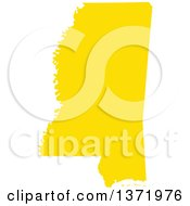 Yellow Silhouetted Map Shape Of The State Of Mississippi United States