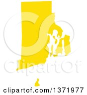 Clipart Of A Yellow Silhouetted Map Shape Of The State Of Rhode Island United States Royalty Free Vector Illustration