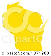 Clipart Of A Yellow Silhouetted Map Shape Of The State Of Wisconsin United States Royalty Free Vector Illustration by Jamers