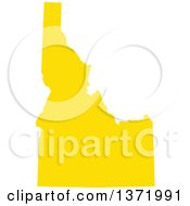 Clipart Of A Yellow Silhouetted Map Shape Of The State Of Idaho United States Royalty Free Vector Illustration