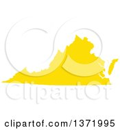 Yellow Silhouetted Map Shape Of The State Of Virginia United States