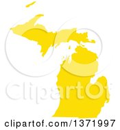 Yellow Silhouetted Map Shape Of The State Of Michigan United States
