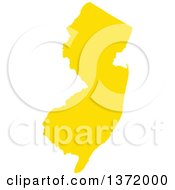 Clipart Of A Yellow Silhouetted Map Shape Of The State Of New Jersey United States Royalty Free Vector Illustration