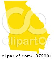 Clipart Of A Yellow Silhouetted Map Shape Of The State Of Georgia United States Royalty Free Vector Illustration
