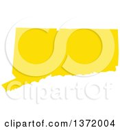Clipart Of A Yellow Silhouetted Map Shape Of The State Of Connecticut United States Royalty Free Vector Illustration