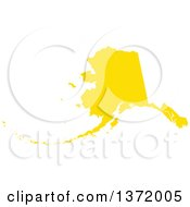 Clipart Of A Yellow Silhouetted Map Shape Of The State Of Alaska United States Royalty Free Vector Illustration