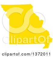 Clipart Of A Yellow Silhouetted Map Shape Of The State Of Missouri United States Royalty Free Vector Illustration
