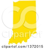 Clipart Of A Yellow Silhouetted Map Shape Of The State Of Indiana United States Royalty Free Vector Illustration