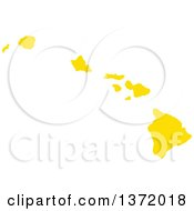 Clipart Of A Yellow Silhouetted Map Shape Of The State Of Hawaii United States Royalty Free Vector Illustration by Jamers
