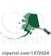 Dark Green Silhouetted Map Shape Of The State Of Alaska United States