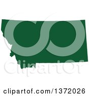 Clipart Of A Dark Green Silhouetted Map Shape Of The State Of Montana United States Royalty Free Vector Illustration