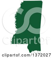 Clipart Of A Dark Green Silhouetted Map Shape Of The State Of Mississippi United States Royalty Free Vector Illustration by Jamers