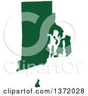 Dark Green Silhouetted Map Shape Of The State Of Rhode Island United States