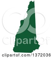 Dark Green Silhouetted Map Shape Of The State Of New Hampshire United States