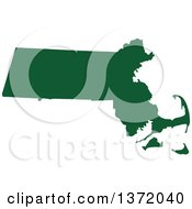Dark Green Silhouetted Map Shape Of The State Of Massachusetts United States