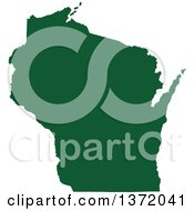 Dark Green Silhouetted Map Shape Of The State Of Wisconsin United States