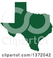 Dark Green Silhouetted Map Shape Of The State Of Texas United States