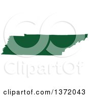 Dark Green Silhouetted Map Shape Of The State Of Tennessee United States