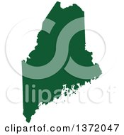 Dark Green Silhouetted Map Shape Of The State Of Maine United States