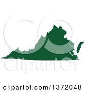 Dark Green Silhouetted Map Shape Of The State Of Virginia United States