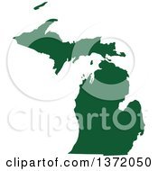 Dark Green Silhouetted Map Shape Of The State Of Michigan United States