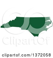 Dark Green Silhouetted Map Shape Of The State Of North Carolina United States
