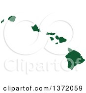 Dark Green Silhouetted Map Shape Of The State Of Hawaii United States