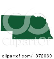 Dark Green Silhouetted Map Shape Of The State Of Nebraska United States