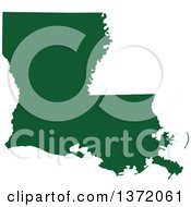 Dark Green Silhouetted Map Shape Of The State Of Louisiana United States