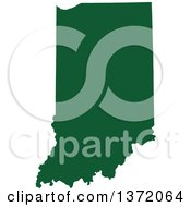 Dark Green Silhouetted Map Shape Of The State Of Indiana United States