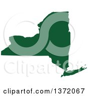 Clipart Of A Dark Green Silhouetted Map Shape Of The State Of New York United States Royalty Free Vector Illustration