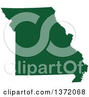 Dark Green Silhouetted Map Shape Of The State Of Missouri United States