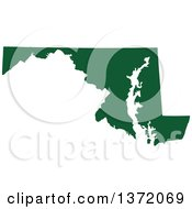 Clipart Of A Dark Green Silhouetted Map Shape Of The State Of Maryland United States Royalty Free Vector Illustration