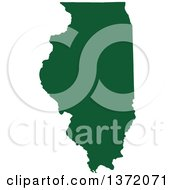 Clipart Of A Dark Green Silhouetted Map Shape Of The State Of Illinois United States Royalty Free Vector Illustration