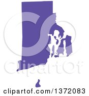 Clipart Of A Purple Silhouetted Map Shape Of The State Of Rhode Island United States Royalty Free Vector Illustration by Jamers