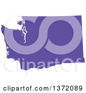 Clipart Of A Purple Silhouetted Map Shape Of The State Of Washington United States Royalty Free Vector Illustration