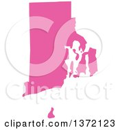 Pink Silhouetted Map Shape Of The State Of Rhode Island United States