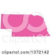 Clipart Of A Pink Silhouetted Map Shape Of The State Of Nebraska United States Royalty Free Vector Illustration