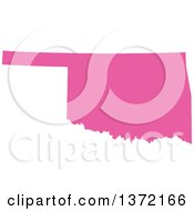Clipart Of A Pink Silhouetted Map Shape Of The State Of Oklahoma United States Royalty Free Vector Illustration