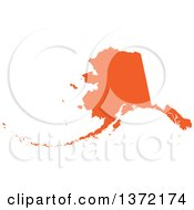Orange Silhouetted Map Shape Of The State Of Alaska United States