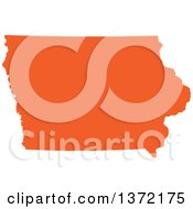 Clipart Of An Orange Silhouetted Map Shape Of The State Of Iowa United States Royalty Free Vector Illustration by Jamers