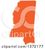 Clipart Of An Orange Silhouetted Map Shape Of The State Of Mississippi United States Royalty Free Vector Illustration by Jamers