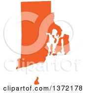Clipart Of An Orange Silhouetted Map Shape Of The State Of Rhode Island United States Royalty Free Vector Illustration