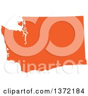 Orange Silhouetted Map Shape Of The State Of Washington United States