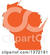 Clipart Of An Orange Silhouetted Map Shape Of The State Of Wisconsin United States Royalty Free Vector Illustration