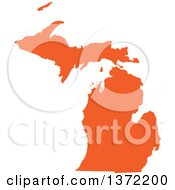 Orange Silhouetted Map Shape Of The State Of Michigan United States