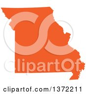 Orange Silhouetted Map Shape Of The State Of Missouri United States